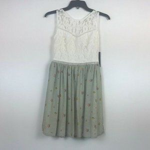 City Studio 1 Ivory Olive Lace Print Dress NWT G43